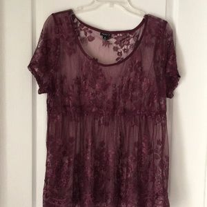 Torrid size 0 lace short sleeved top